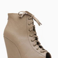 Wild Diva Lace Up Front Peep Toe Wedges