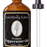 Essentially KateS 100% Pure Peppermint Essential Oil 4 oz. with Glass Dropper and Detailed User's Guide.
