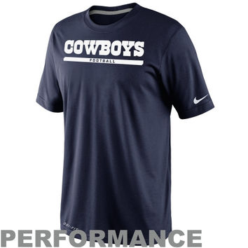 Nike Dallas Cowboys Elite Font Performance T-Shirt - Navy Blue