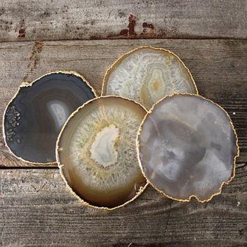 Gold Rimmed Natural Agate Coasters PRE-ORDER