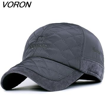 VORON 2017 Warm Winter Baseball Cap Men Brand Snapback Black Solid Bone Baseball Mens Winter Hats Ear Flaps