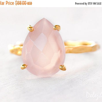 SALE - Pink Chalcedony Ring - Gemstone Ring - Stacking Ring - Gold Ring - Tear Drop Ring - Prong Set Ring