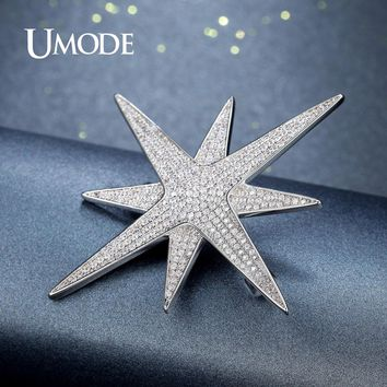 UMODE New Two Layer Four Point Star Brooch for Women Fashion Large Rhinestone Crystal Brooches Wedding Jewelry Metal Pin AUX0003