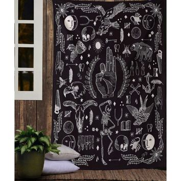 Black Natural Creature Collection Pattern Tapestry Bohemian Wall Tapestry Bedroom Living Room Home Decor Multipurpose Tapestry