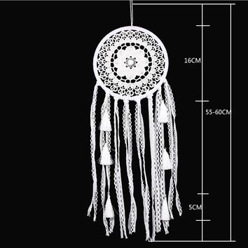55cm Chinese White Plum Blossom Dream Catcher Feather Bead Hanging Decoration Ornament Gift for Home Wall Car Decoration
