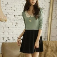 Lace Collar Princess Green Splicing Dresses : Wholesaleclothing4u.com