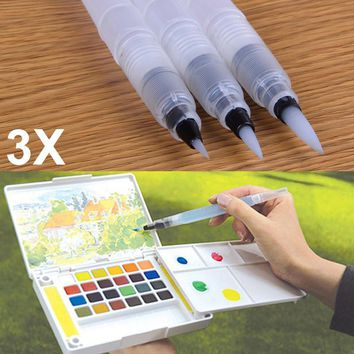 3Pcs set Refillable Ink Color Pen Water Brush Painting Calligraphy Illustration Pen Office Stationery