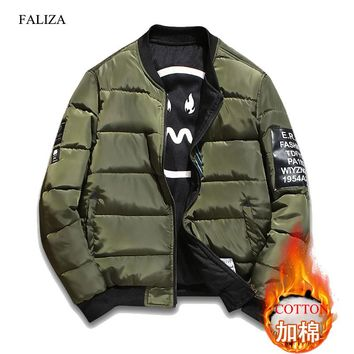 FALIZA Winter Thick Bomber Jacket Men Pilot with Patches Green Both Side Wear Pilot Flight Army Military Jacket Outwear Coat JKH