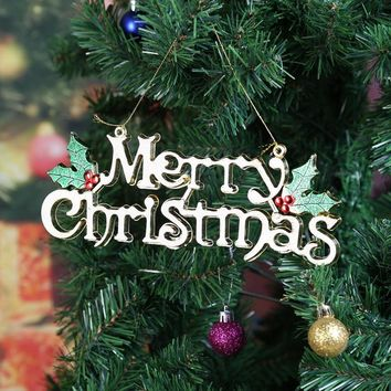 Merry Christmas Letter Card Tags DIY Christmas Tree Hanging Pendants Drops Christmas Decoration for Home New Year Party Supplies