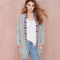 Gray Knitted Long Sleeves Cardigan   With Pockets