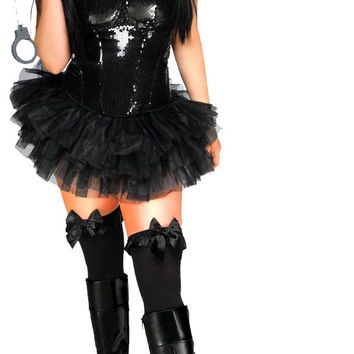 Black Sequin Pin-Up Cop - 4 PC Women's Costume Plus Size