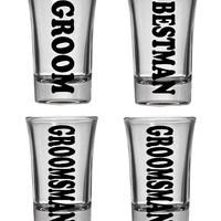 Set of 4 wedding party shot glasses. Groom, Best Man, Groomsman, bachlor party gift, wedding shower, custom shot glasses