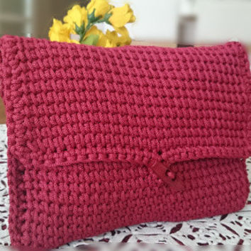 Red Crocheted Clutch,Macrame Clutch,Casual Clutch Bag,Valentine's Day Gift,Cell Phone Clutch,For Bridesmaid,Hand Crocheted Clutch