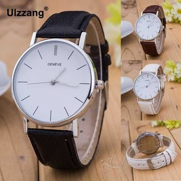 Luxury Geneve Silver Stainless Steel Round Dial PU Leather Quartz Business Dress Wrist Watch Wristwatches Gift for Men Women