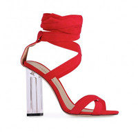 Wrap Around Faux Suede Lucite Heels Red