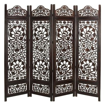 Handcrafted Wooden 4 Panel Room Divider Screen Featuring Lotus Pattern-Reversible, Antiqued Brown
