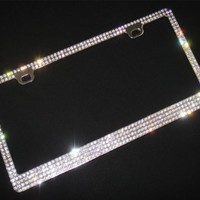 Super Bling 6 Rows White(C-Style Screw Cap)Real Crystal Rhinestone Embedded Metal Chrome License Plate Frame