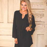 Bell Sleeve Tunic Dress- Black