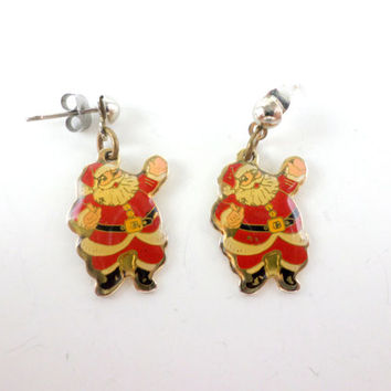 Santa Claus Earrings Little Santa Claus St. Nick Christmas Xmas Earrings Vintage Jewelry