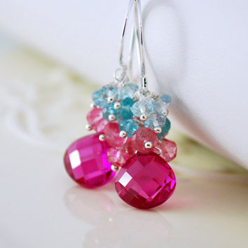 NEW Bright Wedding Earrings, Hot Pink Quartz Apatite Blue Topaz Cluster, Sterling Silver Gemstone Jewelry - Summer Bouquet - Free Shipping