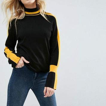 ASOS Jumper with High Neck and Sports Tipping at asos.com