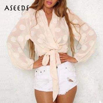 CREYLD1 2018 spring crop top chiffon blouse women shirts long sleeve splice womens tops and blouses lace up clothing korean fashion