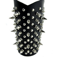 Spike and Stud Leather Wristband Heavy Metal Armband Gauntlet