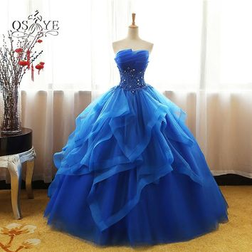 2017 New Royal Blue Long Prom Dresses Robe de Soiree Strapless Tulle Beaded Lace Formal Evening Party Gown Custom Made