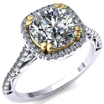 Trudy Round Moissanite 4 Double Prong Engagement Ring