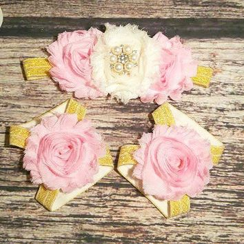Pink Cream and Gold Rhinestone Headband and Barefoot Sandals Set - Baby Girl Headband - Infant - Baby - Toddler - Girls - Hair Bows - Bows