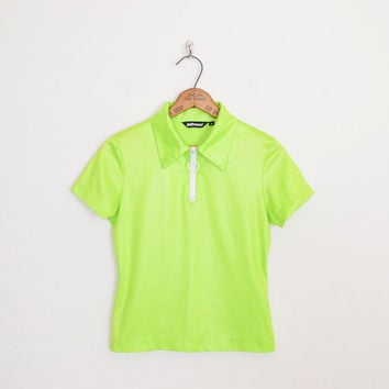Neon Green Shirt 90s Shirt 90s Top 90s Grunge Shirt Club Kid Shirt Rave Shirt Raver Shirt Zipper Shirt Zip Up Shirt Collar Shirt S Small