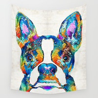 Colorful Boston Terrier Dog Pop Art - Sharon Cummings Wall Tapestry by Sharon Cummings