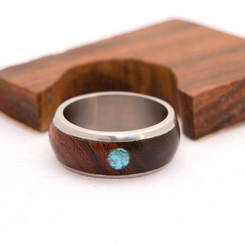 Titanium and Wood with Turquoise Ring turquoise men ring