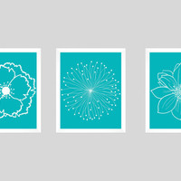 Set of 3 White Flower Blossoms on Turquoise Background Prints CUSTOM COLORS Modern Art Prints Nursery Decor Colors Modern prints 8x10
