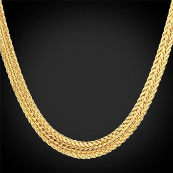 "Necklaces ""18K"" Gold Stamp 6mm Foxtail Platinum/Rose Gold/18K Gold"
