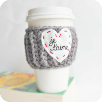 Travel Mug Cup Cozy coffee tea love heart french Paris red white gray crochet cover Valentines Day