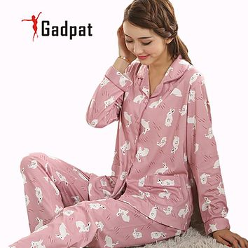 Spring And Autumn Ladies Cotton Pajamas Long Sleeved Suit Girls Aged Mother Autumn Autumn Home Furnishing Wear Pajamas Cardigan