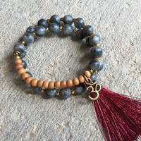 Matte Larvikite and Sandalwood ,'Grounding and Healing', 27 Bead Wrist Mala Wrap Bracelet