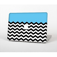The Solid Blue with Black & White Chevron Pattern Skin Set for the Apple MacBook Air 13""