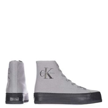 **Hi Top Canvas Trainers by Calvin Klein - Shoes