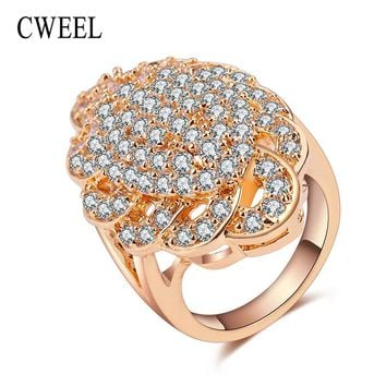 CWEEL Charm Wedding Rings For Women Gold/Silver Color Unique Imitation Crystal Jewelry Engagement Party Gift Bridal Accessories