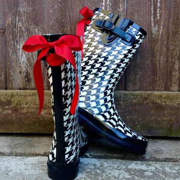 Custom Houndstooth Rain Boots with Red Bows