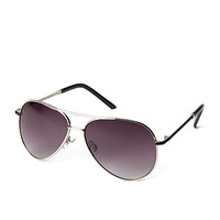 FOREVER 21 Favorite Aviator Sunglasses Silver/Black One