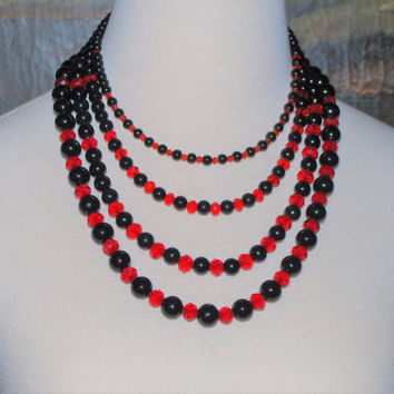 Multiple Strands Red And Black Glass Pearls Necklace
