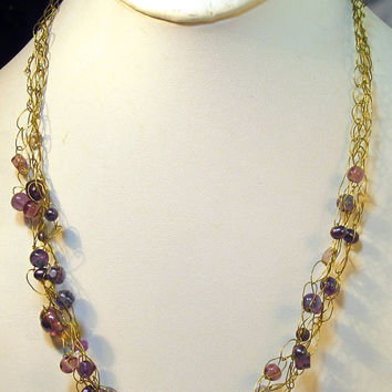 Purple Beads Gold Wire Crocheted Necklace