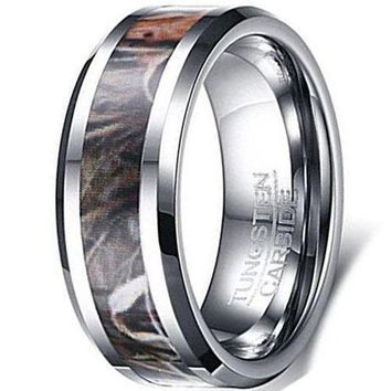 CERTIFIED 8mm Tungsten Carbide Ring Silver Camouflage Hunting Camo Sport Fashion Wedding Engagement Band