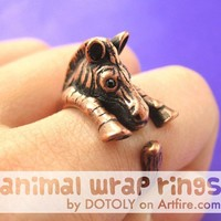 Realistic Zebra Animal Wrap Around Hug Ring in Copper - Sizes 4 to 9