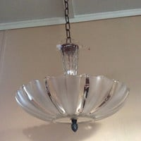 Antique Frosted Glass Sunflower Art Deco Light Fixture Ceiling Chandelier 1940s Vintage
