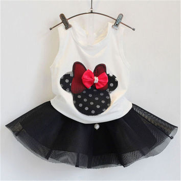 Kids Clothes Girls Clothing Sets New Summer Balck Bow Tutu Skirt + White Sleeveless Tops Toddler Girl Clothes Children Clothing