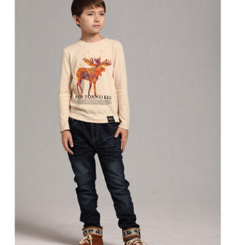 High Quality Autumn Style Baby Boy Girl Clothing T-shirt Deer Printing Long-Sleeved Top Brand Sports Kids Boy Children Clothes